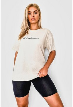 Ensemble t-shirt inscription Woman et short cycliste Plus, Roche beige