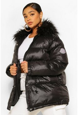 Black Plus Padded High Shine Puffer With Faux Fur Collar