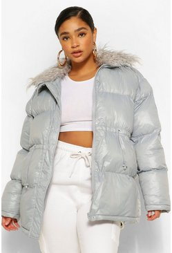 Grey Plus Padded High Shine Puffer With Faux Fur Collar