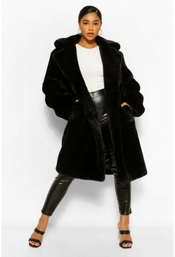 Black Plus Premium Faux Fur Oversized Coat