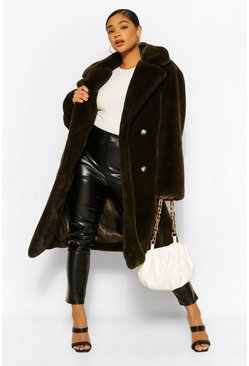 Khaki Plus Premium Faux Fur Oversized Coat
