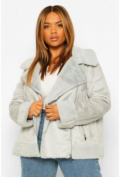 Grey Plus Suedette and Faux Fur Biker Aviator Jacket