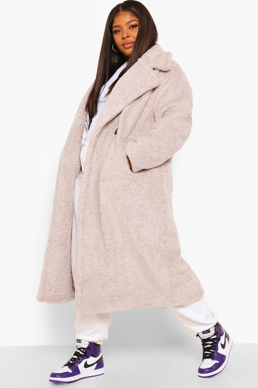 COATS & JACKETS Plus Teddy Faux Fur Trench Coat