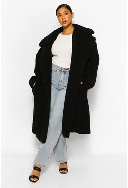 Black Plus Premium Teddy Faux Fur Oversized Coat