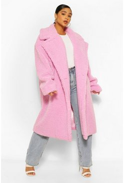 Pink Plus Premium Teddy Faux Fur Oversized Coat