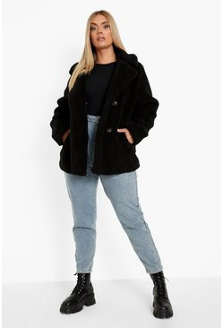 Black Plus Double Breasted Faux Fur Teddy Coat