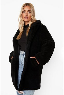 Black Plus Teddy Faux Fur Coat