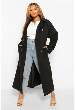 Black Plus Wool Look Double Breasted Trench Coat