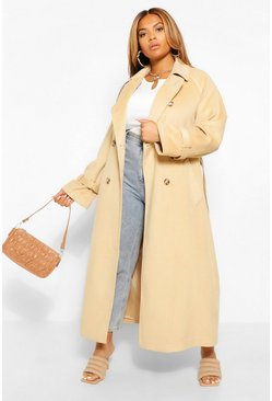 Camel beige Plus Wool Look Double Breasted Trench Coat