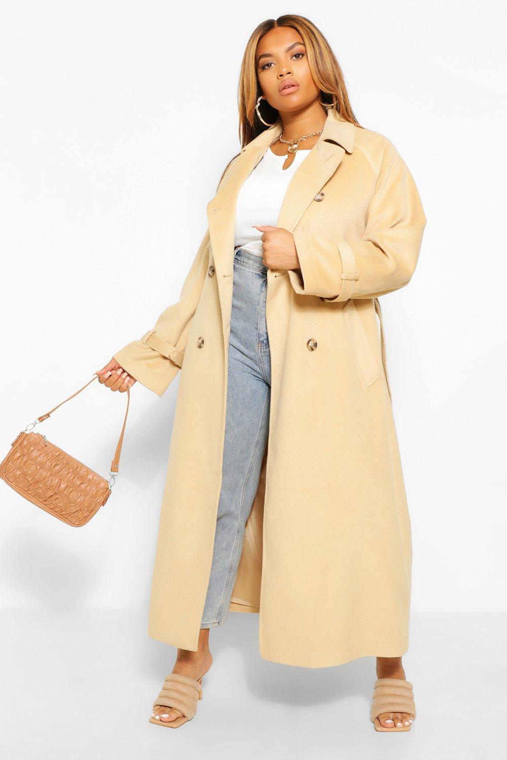 Plus Wool Look Double Breasted Trench Coat 19