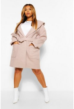 Biscuit beige Plus Wool Look Waterfall Collar Belted Coat