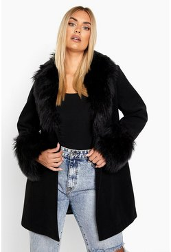 Black Plus Faux Fur Shawl Collar Wool Look Coat