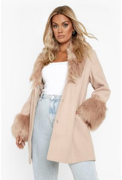 Camel beige Plus Faux Fur Shawl Collar Wool Look Coat