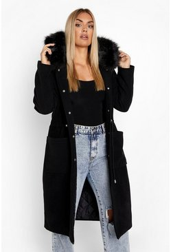 Black Plus Faux Fur Hood Wool Look Coat