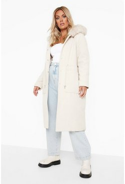 Stone beige Plus Faux Fur Hood Wool Look Coat
