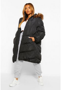 Black Plus Maxi Padded Puffer Coat With Faux Fur Hood