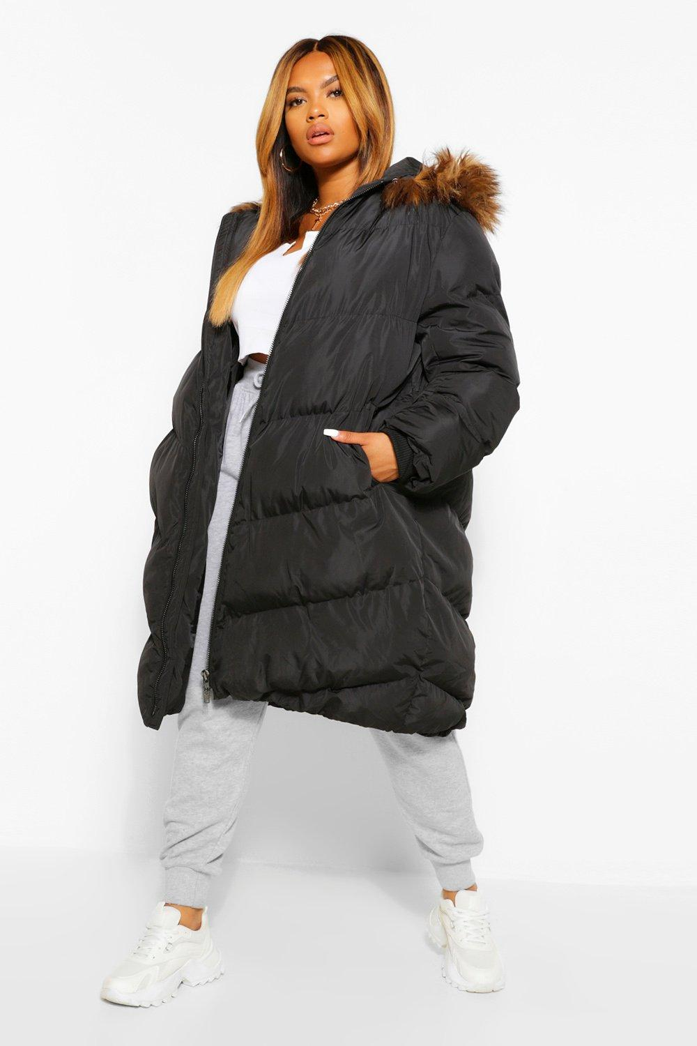 COATS & JACKETS Plus Maxi Padded Puffer Coat With Faux Fur Hood