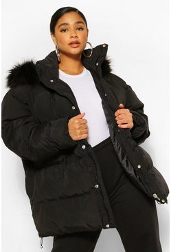 Black Plus Padded Puffer Coat With Faux Fur Hood