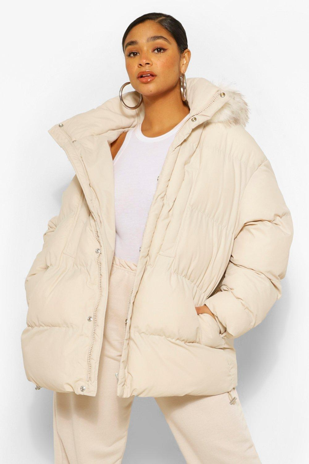 COATS & JACKETS Plus Padded Puffer Coat With Faux Fur Hood