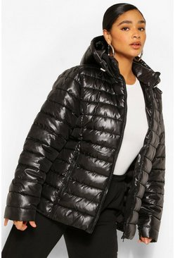 Black Plus Hooded High Shine Puffer Coat