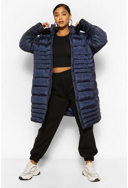 Navy Plus Longline Faux Fur Hooded Puffer Coat