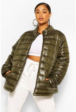 Khaki Plus High Shine Funnel Neck Puffer Coat
