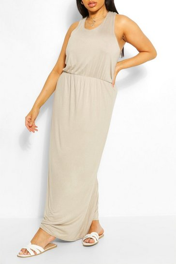 Stone beige Plus Racer Back Maxi Dress