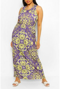 Multi Plus Tile Print Racer Back Maxi Dress