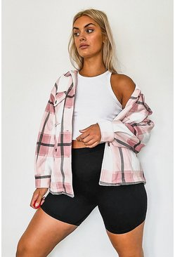Pink Plus Tonal Check Shacket