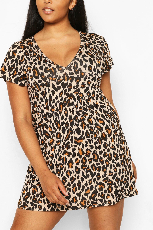 Plus Size Puff Sleeve Shirred Midi Dress 3