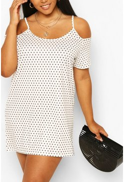 Ivory white Plus Polka Dot Cold Shoulder Sundress