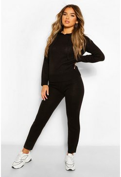 Black Petite Knitted Hooded Jumper and Jogger Lounge Set