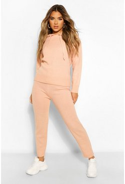 Peach orange Petite Knitted Hooded Jumper and Jogger Lounge Set