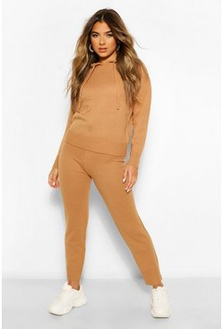 Tan brown Petite Knitted Hooded Jumper and Jogger Lounge Set