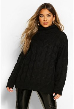 Black Petite Cable Roll Neck Oversized Sweater