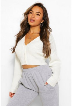 Ivory Petite Crop Knitted Button Cardigan