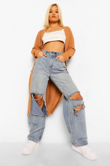 Tan brown Petite Boyfriend Knit Long Cardigan