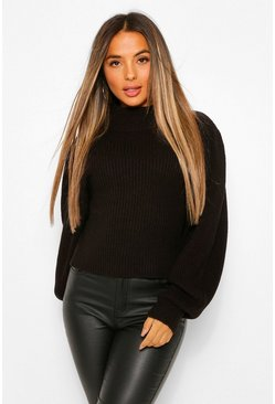 Black Petite Balloon Sleeve High Neck Jumper