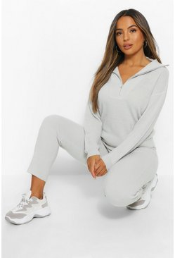 Grey Petite Zip Through Polo Jumper & Jogger Lounge Set