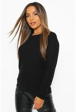 Black Petite Knitted Round Neck Cropped Jumper