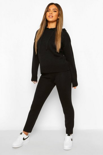 Black Petite Hooded Jumper and Jogger Lounge Set