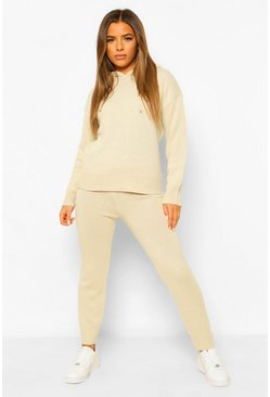 Oatmeal beige Petite Hooded Sweater And Jogger Lounge Set