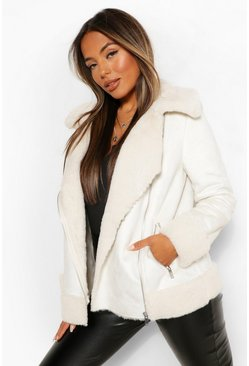 Cream white Petite Faux Fur Aviator Jacket