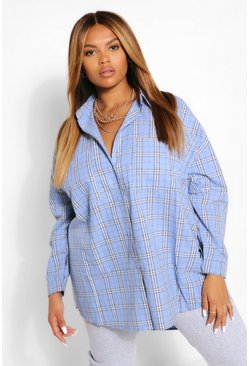 Blue Plus Brushed Flannel Oversized Boyfriend Shirt