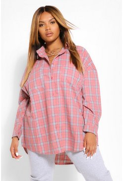 Rose pink Plus Brushed Check Oversized Boyfriend Shirt