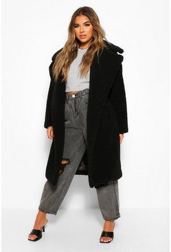 Black Petite Long Teddy Faux Fur Coat