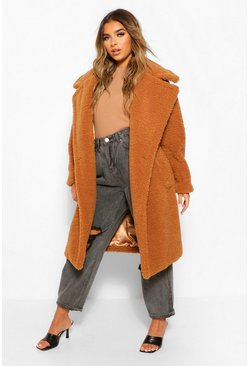 Toffee beige Petite Long Teddy Faux Fur Coat