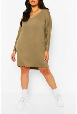 Khaki Plus Long Sleeve Basic T-Shirt Dress