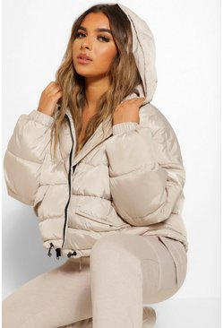 Taupe beige Petite Hooded Puffer Jacket