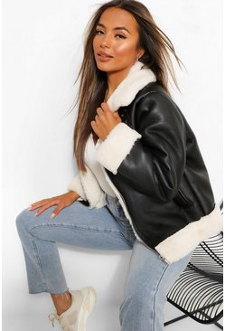 Black Petite Contrast Trim Aviator Jacket
